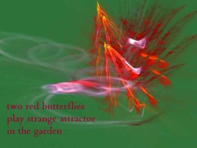 two red butterflies / play strange attractor / in the garden