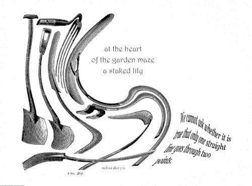 at the heart / of the garden maze / a staked lily