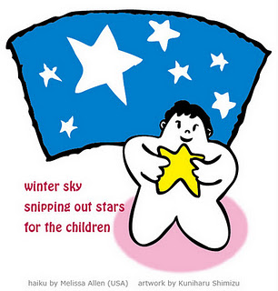 winter sky / snipping out stars / for the children