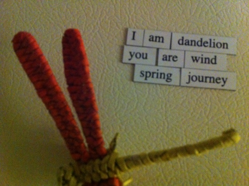 I am dandelion / you are wind / spring journey